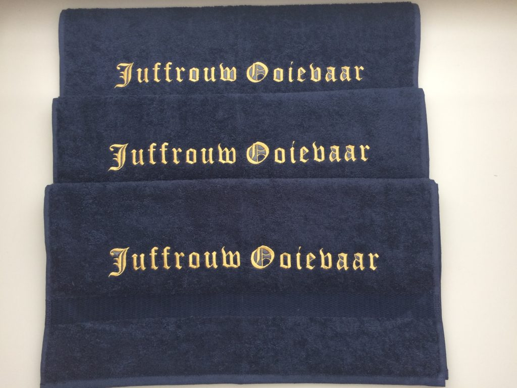 Watersport, towels for on board with boat name, by ZijHaven3, borduurstudio Lemmer
