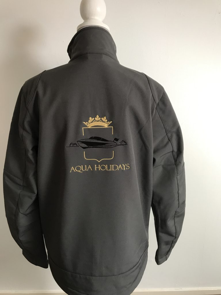 Company gear, Aqua Holidays softshell, by ZijHaven3, borduurstudio Lemmer