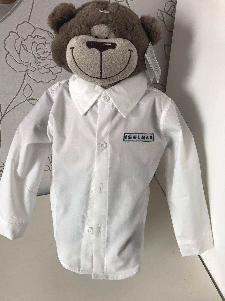 Gift idea, childs bear with shirt, by ZijHaven3, borduurstudio Lemmer