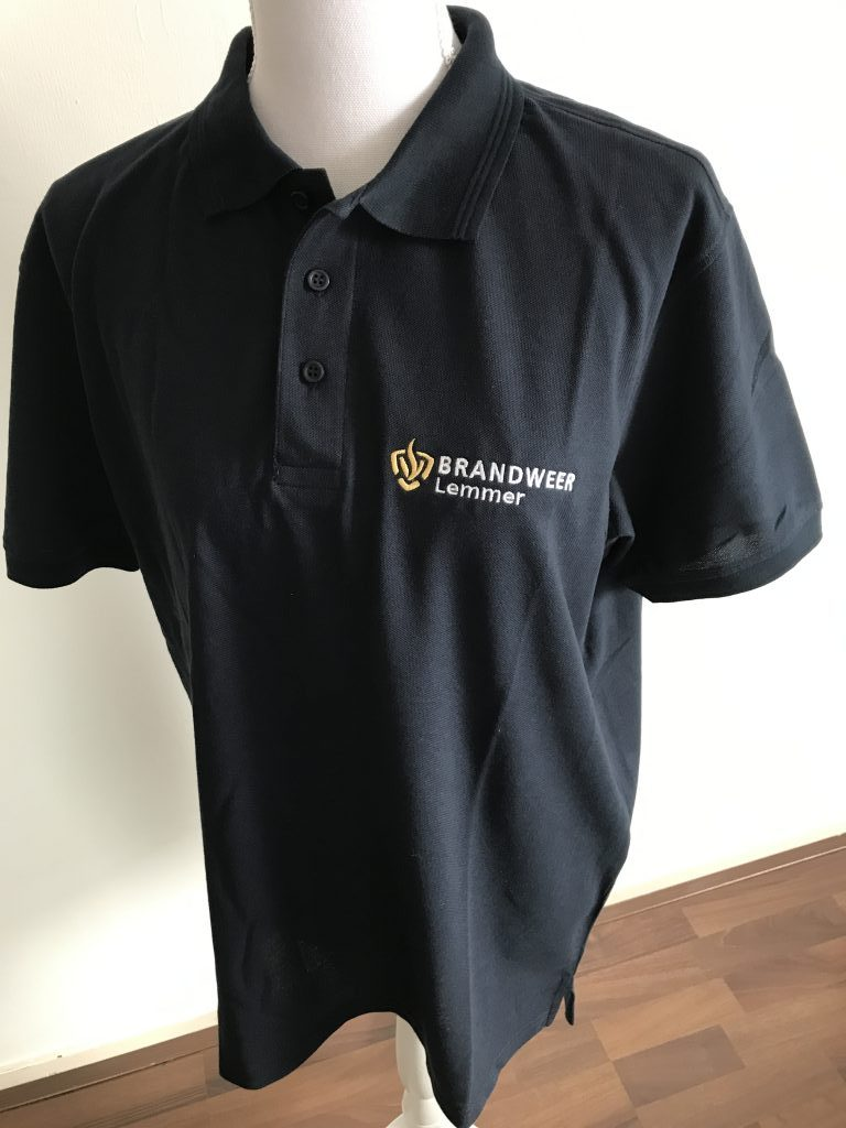 Company clothing, Mens polo, with logo Brandweer Lemmer, by ZijHaven3, borduurstudio Lemmer