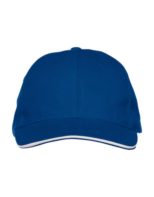 Cap cobalt blue, front side, from Friese Paarden / Friesian Horses, by ZijHaven3,borduurstudio Lemmer