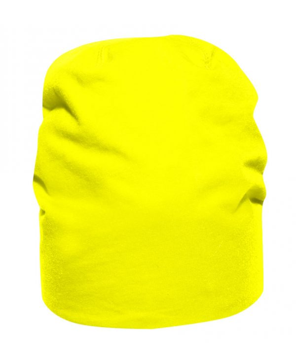 Sporty beanie, bright yellow, with logo Friese Paarden / Friesian Horses, by ZijHaven3, borduurstudio Lemmer
