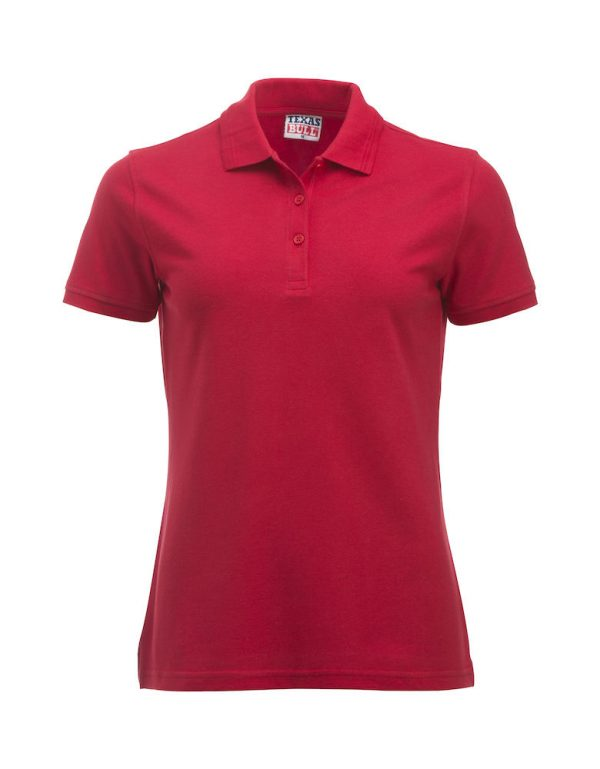 Ladies polo, front side, red, Frisian Horses / Friesian Horses, from ZijHaven3, borduurstudio Lemmer