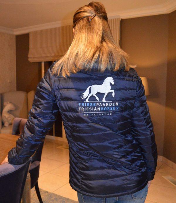 Paardensport, Voorbeeld gewateerd damesjack met logoMuts beanie gemeleerd grijs Friese Paarden / Friesian Horses, van ZijHaven3,bordurrstudio Lemmer