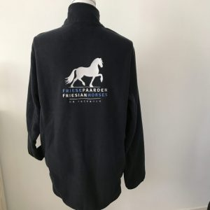 Equestrian sport, example of quilted unisex fleece vest, dark navy, with logo Friese Paarden / Friesian Horses, by ZijHaven3,borduurstudio Lemmer