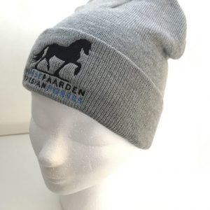 Equestrian sport, hat beanie, mixed grey, with logo Icelander, from ZijHaven3, borduurstudio Lemmer