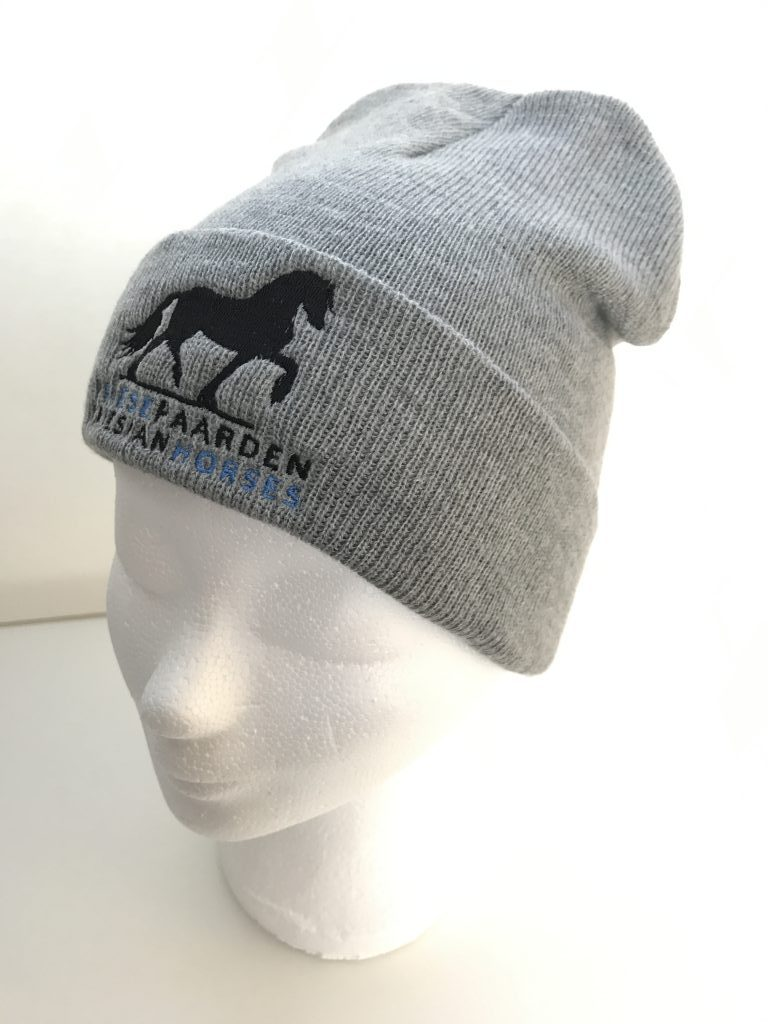 Equestrian sport, hat beanie, mixed grey, with logo Friese Paarden / Friesian Horses, from ZijHaven3, bordurrstudio Lemmer
