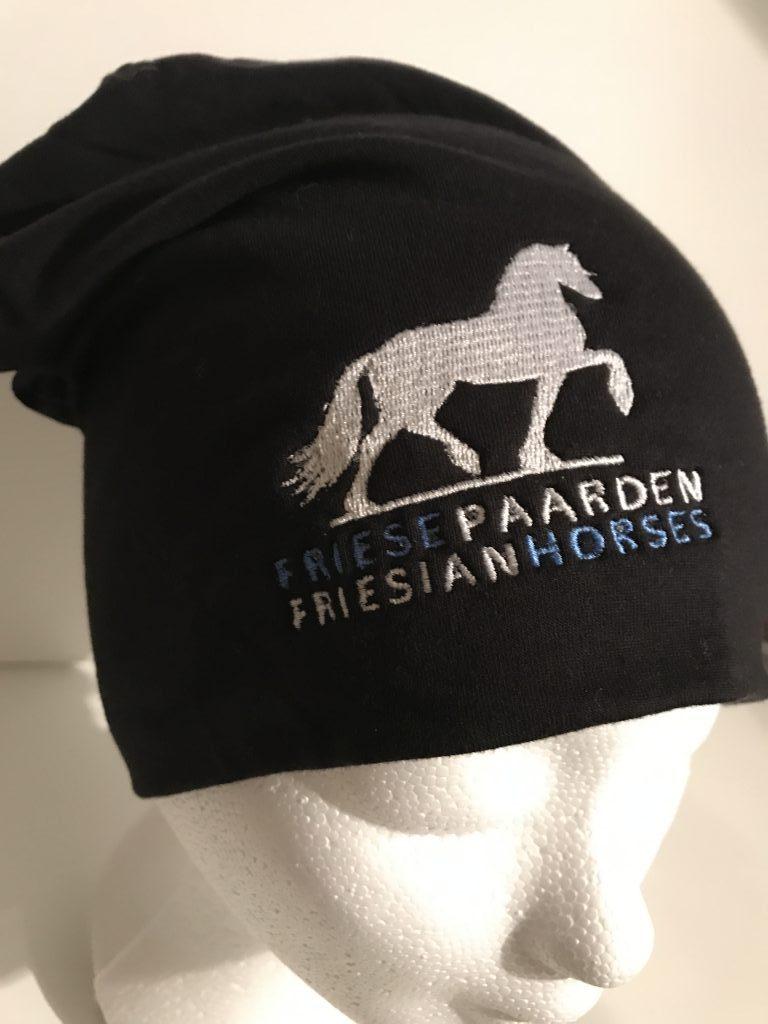 Paardensport, Muts sporty beanie met logo Friese Paarden / Friesian Horses, van ZijHaven3,bordurrstudio Lemmer