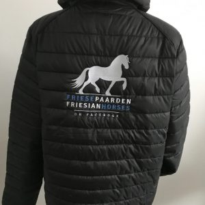 Equestrian sport, quilted mens jacked, black, Friese Paarden / Friesian Horses, by ZijHaven3, borduurstudio Lemmer