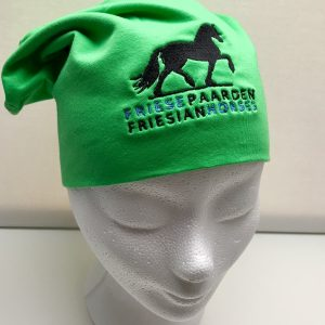 Equestrian sport, hat sporty beanie with logo Friese Paarden / Friesian Horses, by ZijHaven3, borduurstudio Lemmer