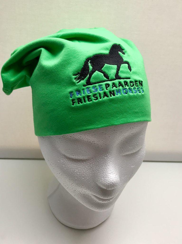 Equestrian sport, hat sporty beanie with logo Friese Paarden / Friesian Horses, by ZijHaven3, borduurstudio Lemmer