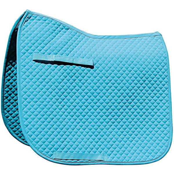 Zadeldek Dressuur, turquoise, met logo Fries Paarden / Friesian Horses, door ZijHaven3, borduurstudio Lemmer