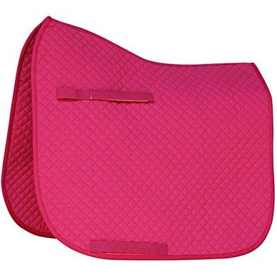 Zadeldek Dressuur, roze, met logo Fries Paarden / Friesian Horses, door ZijHaven3, borduurstudio Lemmer