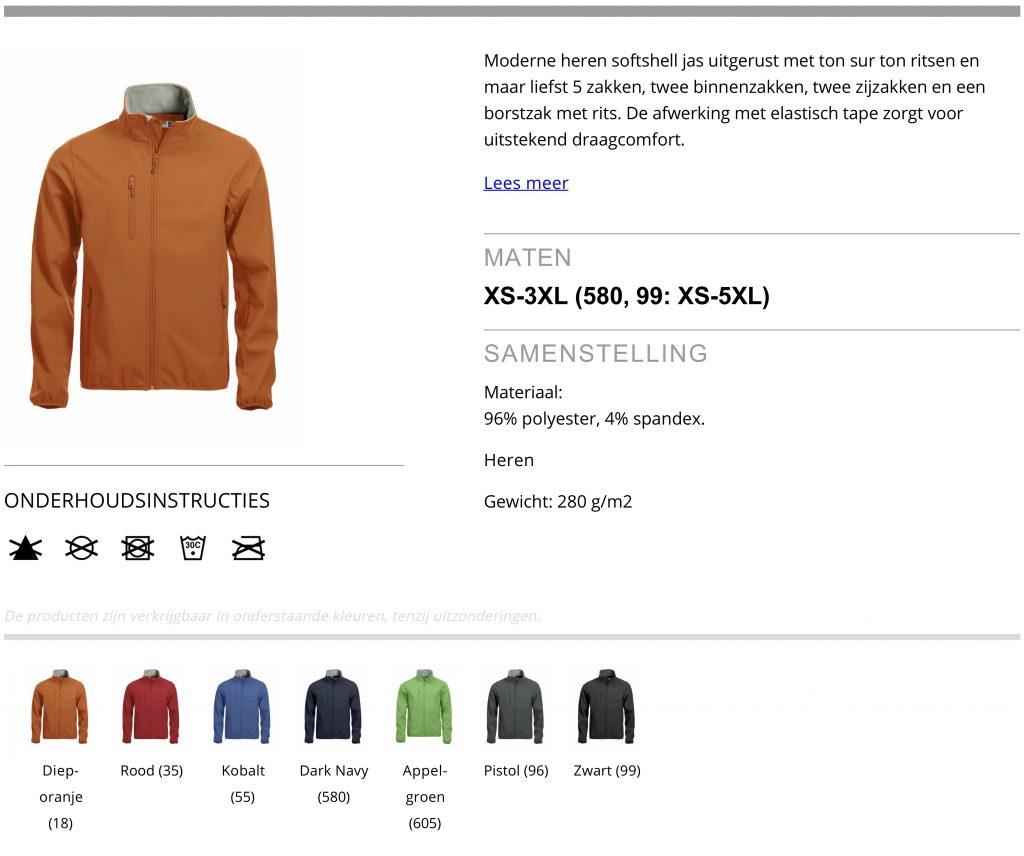 Softshell Jacket heren, product informatie