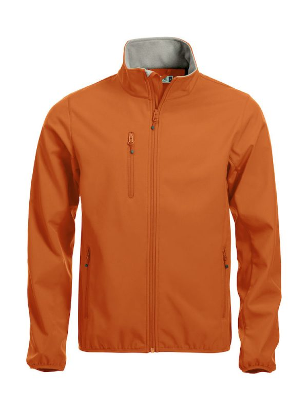 Softshell Jacket, orange, with the logo Fries Paarden / Friesian Horses, by ZijHaven3, borduurstudio Lemmer
