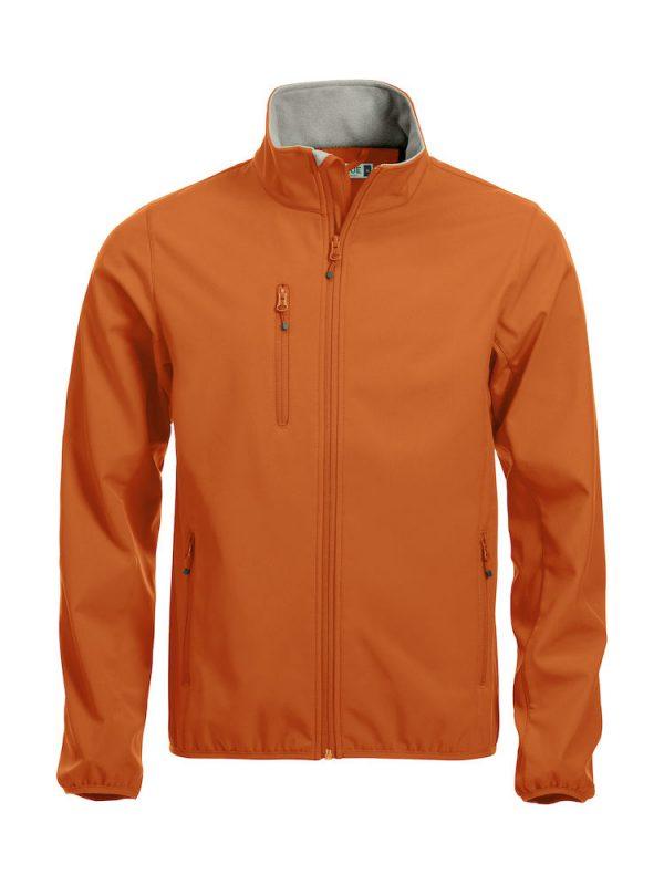 Softshell Jacket, oranje, met het logo Fries Paarden / Friesian Horses, door ZijHaven3, borduurstudio Lemmer