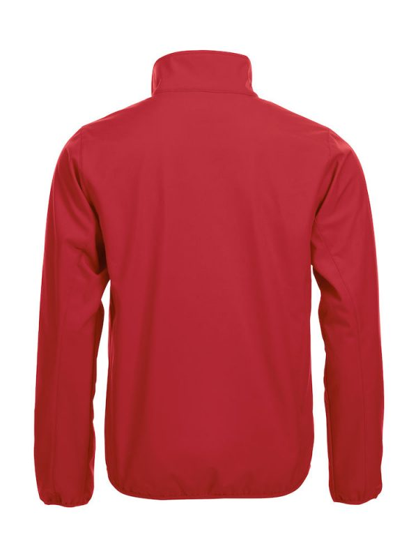 Softshell Jacket, rood, achterkant, met het logo Fries Paarden / Friesian Horses, door ZijHaven3, borduurstudio Lemmer