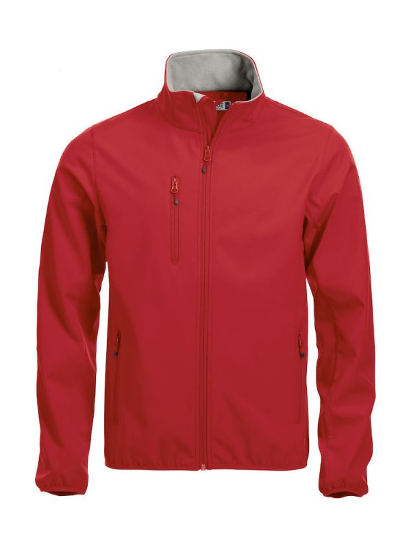 Softshell Jacket, red, with the logo Fries Paarden / Friesian Horses, by ZijHaven3, borduurstudio Lemmer