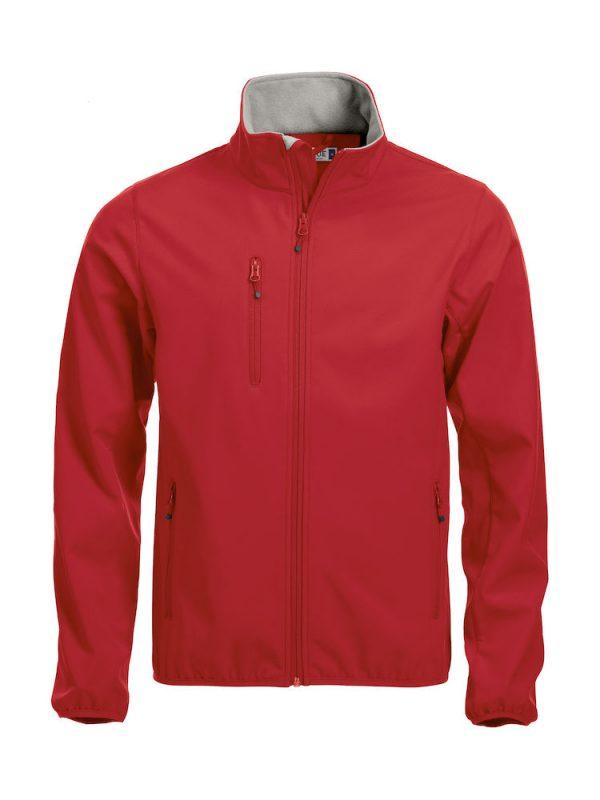 Softshell Jacket, rood, met het logo Fries Paarden / Friesian Horses, door ZijHaven3, borduurstudio Lemmer