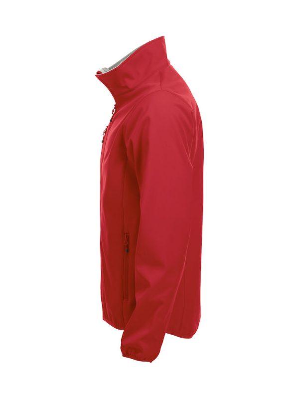 Softshell Jacket, rood, li-zijde, met het logo Fries Paarden / Friesian Horses, door ZijHaven3, borduurstudio Lemmer