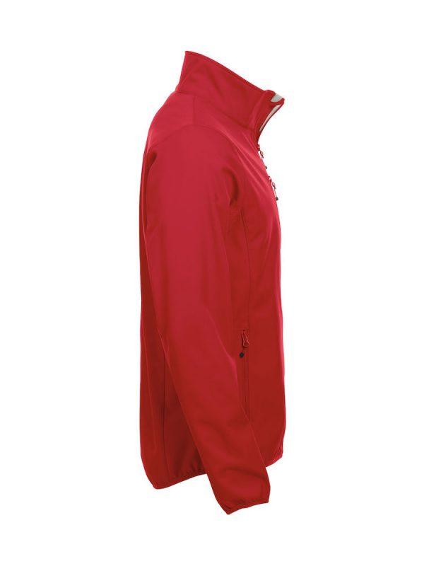 Softshell Jacket, rood, re-zijde, met het logo Fries Paarden / Friesian Horses, door ZijHaven3, borduurstudio Lemmer