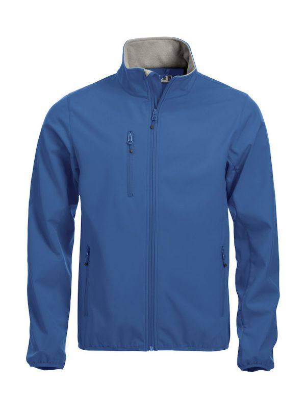 Softshell Jacket, kobalt blauw, met het logo Fries Paarden / Friesian Horses, door ZijHaven3, borduurstudio Lemmer