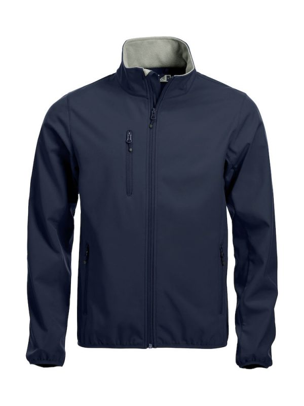 Softshell Jacket, dark navy, met het logo Fries Paarden / Friesian Horses, door ZijHaven3, borduurstudio Lemmer