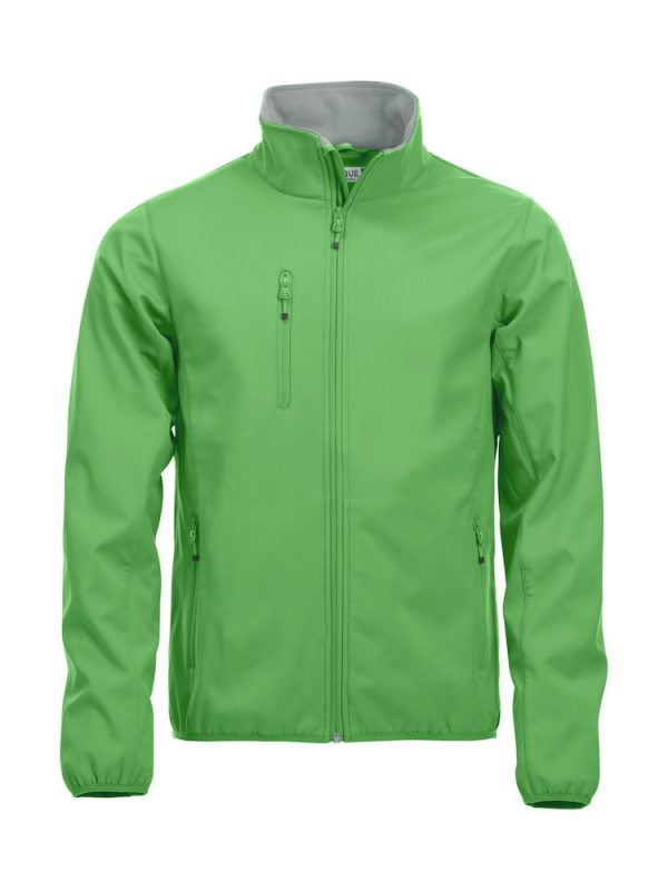Softshell Jacket, apple green, with the logo Fries Paarden / Friesian Horses, by ZijHaven3, borduurstudio Lemmer