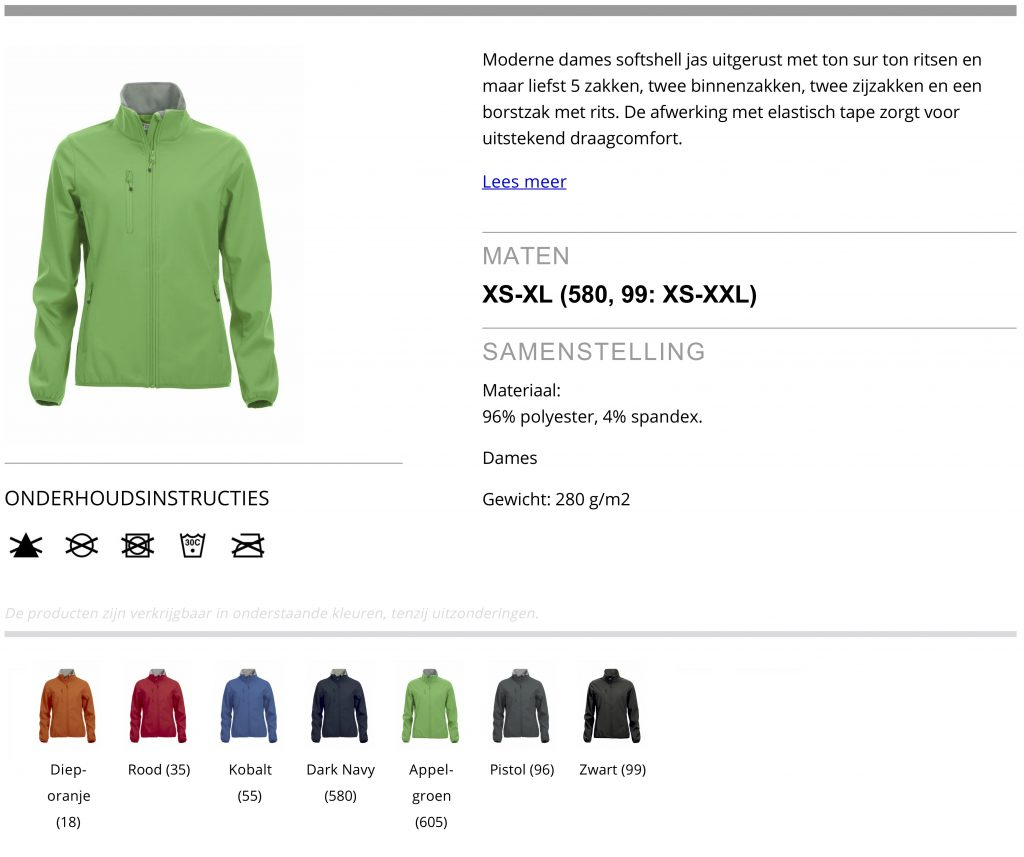 Softshell Jacket dames, product informatie
