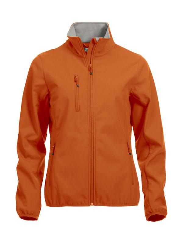 Softshell Jacket, dames, oranje, met het logo Fries Paarden / Friesian Horses, door ZijHaven3, borduurstudio Lemmer