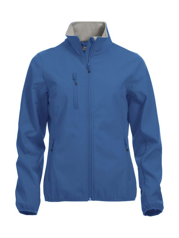 Softshell Jacket, dames, kobalt blauw, met het logo Fries Paarden / Friesian Horses, door ZijHaven3, borduurstudio Lemmer