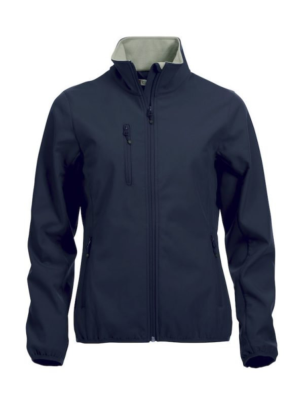 Softshell Jacket, dames, dark navy, met het logo Fries Paarden / Friesian Horses, door ZijHaven3, borduurstudio Lemmer