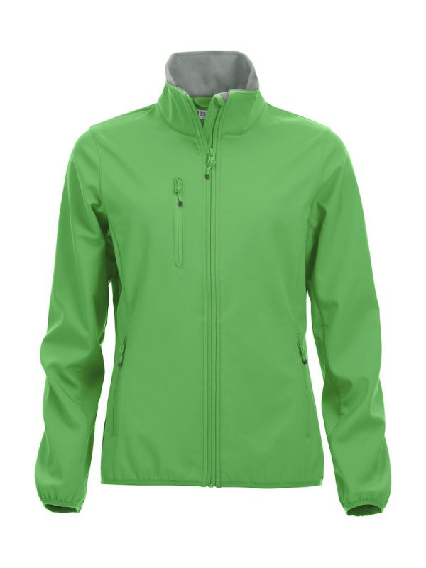 Softshell Jacket, ladies, apple green, with the logo Fries Paarden / Friesian Horses, by ZijHaven3, borduurstudio Lemmer