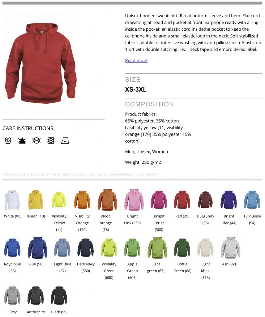 Hoody product information
