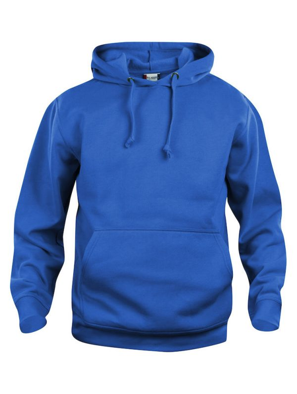 Hoody kobalt blauw, voor-zijde, met logo Friese Paarden / Fresian Horses door ZijHaven3, borduurstudio Lemmer
