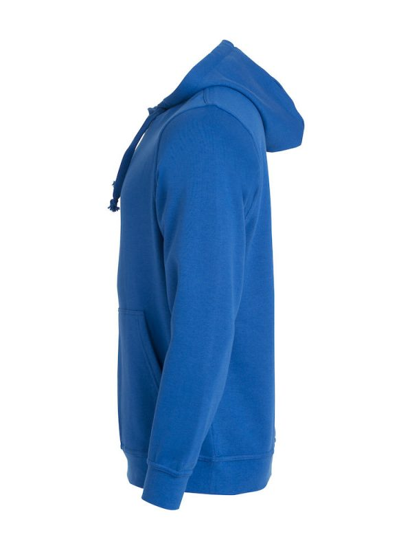 Hoody kobalt blauw, li-zijde, met logo Friese Paarden / Fresian Horses door ZijHaven3, borduurstudio Lemmer