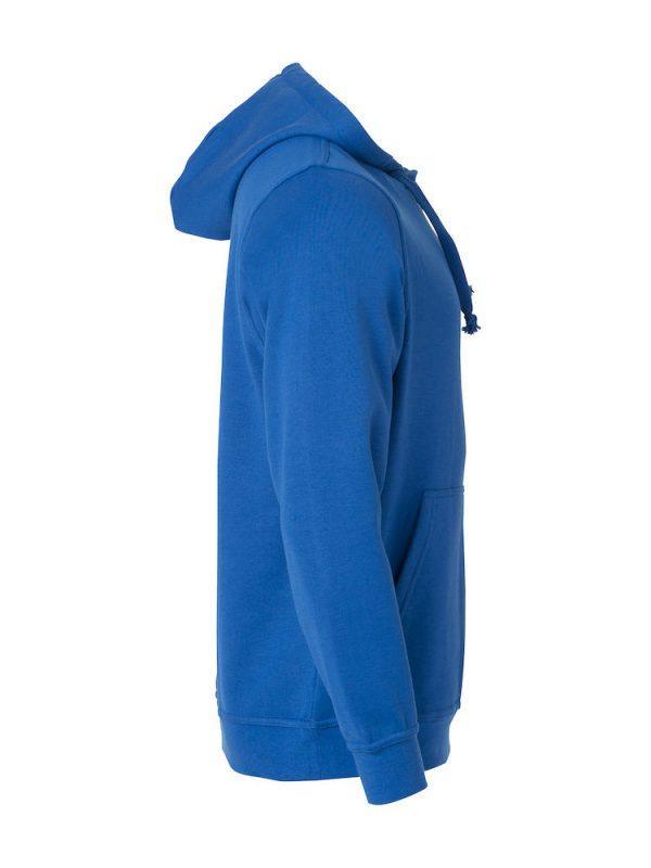 Hoody kobalt blauw, re-zijde, met logo Friese Paarden / Fresian Horses door ZijHaven3, borduurstudio Lemmer