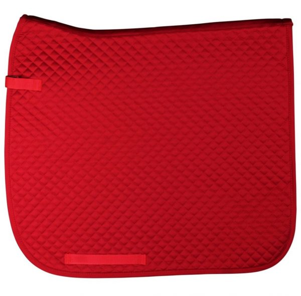 Zadeldek Dressuur, rood, met logo Fries Paarden / Friesian Horses, door ZijHaven3, borduurstudio Lemmer