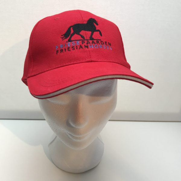 Cap, red, with the logo of Friese Paarden / Friesian Horses by ZijHaven3, borduurstudio Lemmer