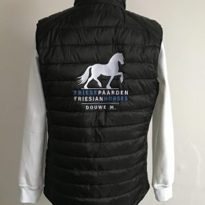 Bodywarmer, black, with logo Friese Paarden / Friesian Horses by ZijHaven3, borduurstudio Lemmer