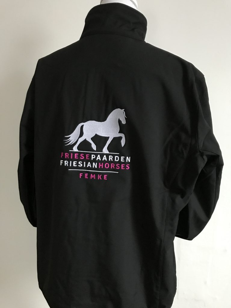 Special Softshell Jacket ladies, black, with the logo Fries Paarden / Friesian Horses, by ZijHaven3, borduurstudio Lemmer