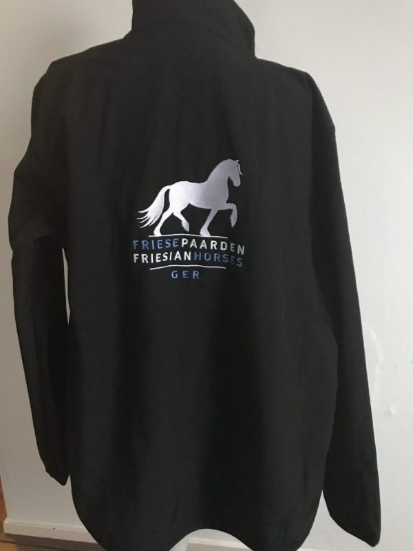 Softshell Jacket, black, with the logo Fries Paarden / Friesian Horses, by ZijHaven3, borduurstudio Lemmer