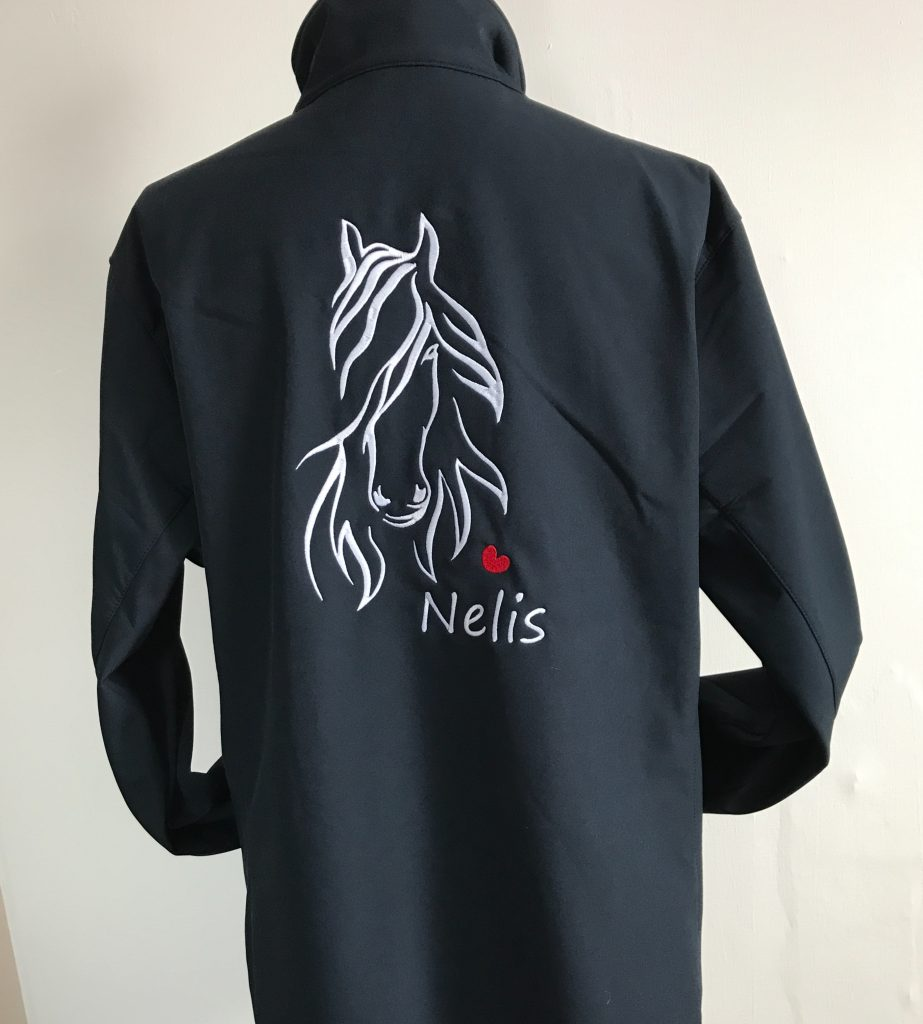 Equestrian sport, personalised softshell jacket with Friesian horse head, by ZijHaven3, borduurstudio Lemmer