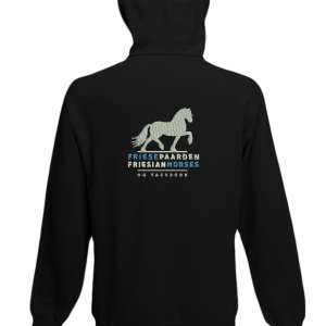 Hoody black, with logo Friese Paarden / Fresian Horses by ZijHaven3, borduurstudio Lemmer