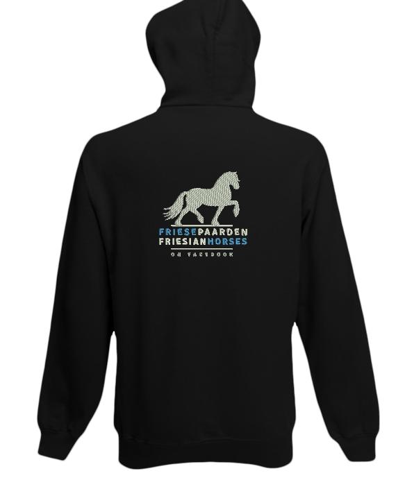 Hoody zwart, met logo Friese Paarden / Fresian Horses door ZijHaven3, borduurstudio Lemmer