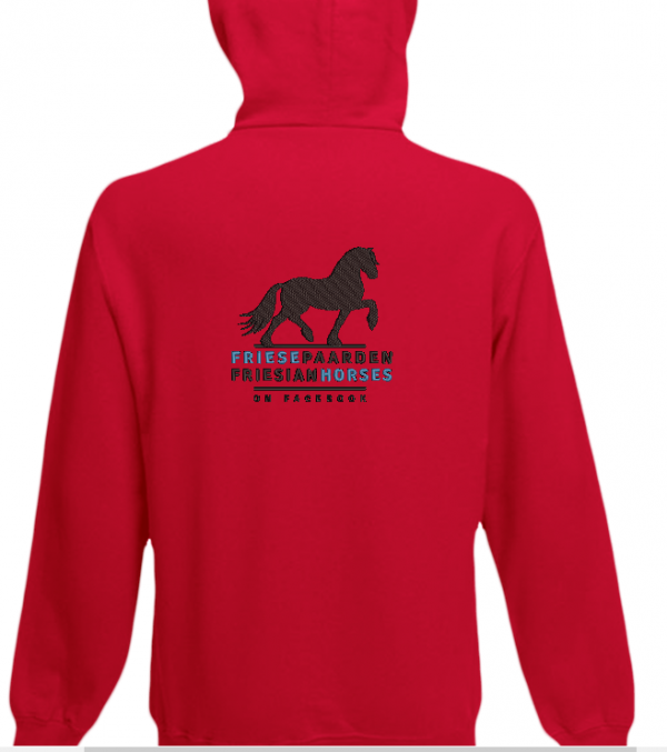 Hoody red, with logo Friese Paarden / Fresian Horses by ZijHaven3, borduurstudio Lemmer