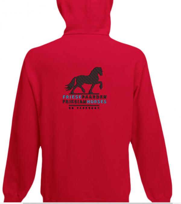 Hoody rood, met logo Friese Paarden / Fresian Horses door ZijHaven3, borduurstudio Lemmer
