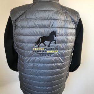 Equestrian sport, quilted mens vest, gray, Friese Paarden / Friesian Horses, by ZijHaven3, borduurstudio Lemmer