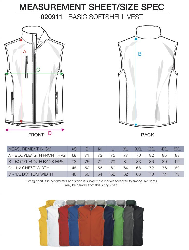 Softshell vest sizing sheet, by ZijHaven3, borduurstudio Lemmer