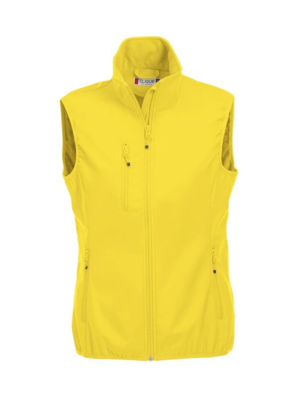 Softshell Softshell vest ladies, yellow, front view, with logo Friese Paarden / Friesian Horses, by ZijHaven3, borduurstudio Lemmer